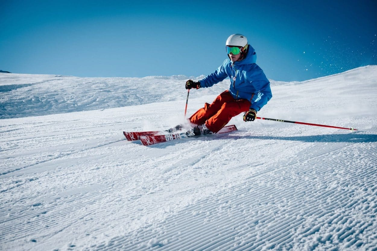 Skier on ski slopes
