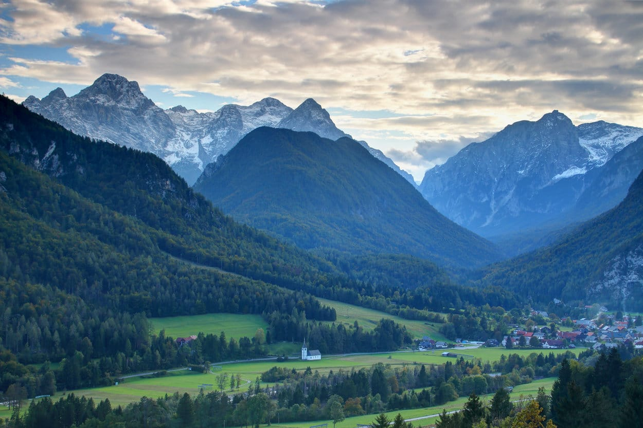 Evening view of Slovenian mountains and valleys
