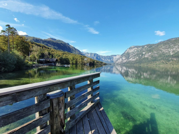 Clear day view of Bohinj lake from the dock