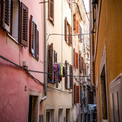 Narrow, colourful streets of Piran architecture