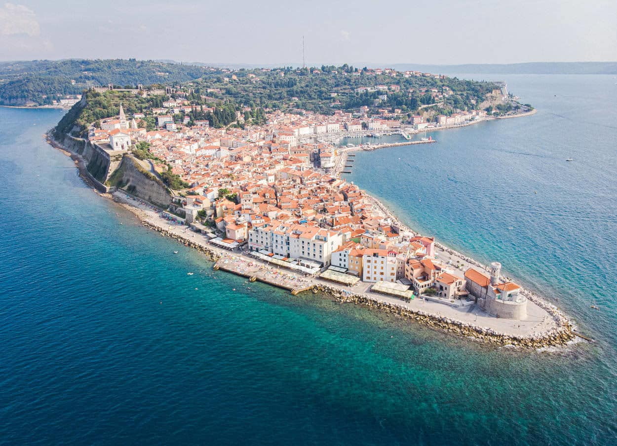 Arial view of Slovenian coast and Piran peninsula