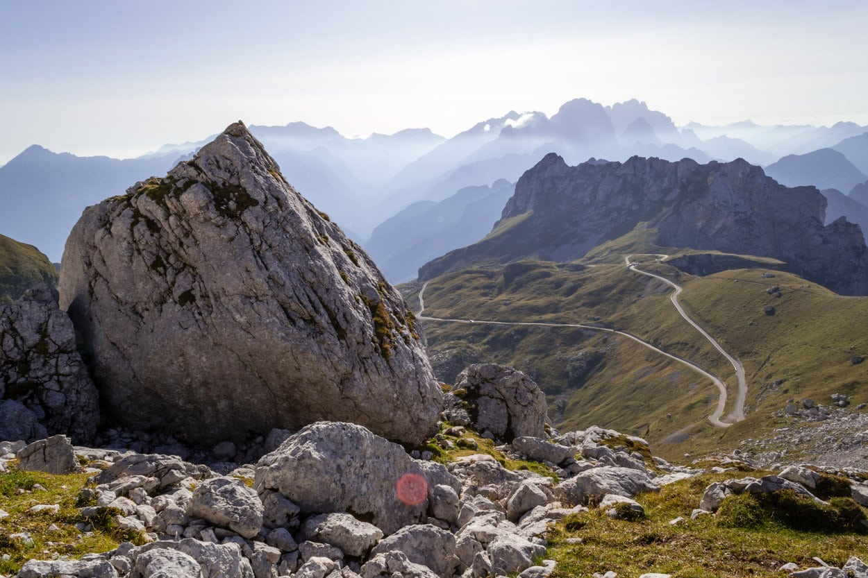 The highest alpine road in Slovenia leading to Mangart Pass