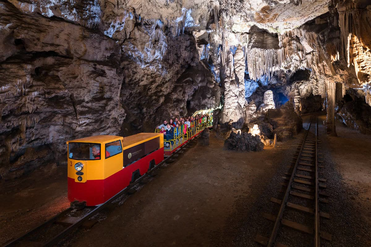 Train ride in Postojna cave