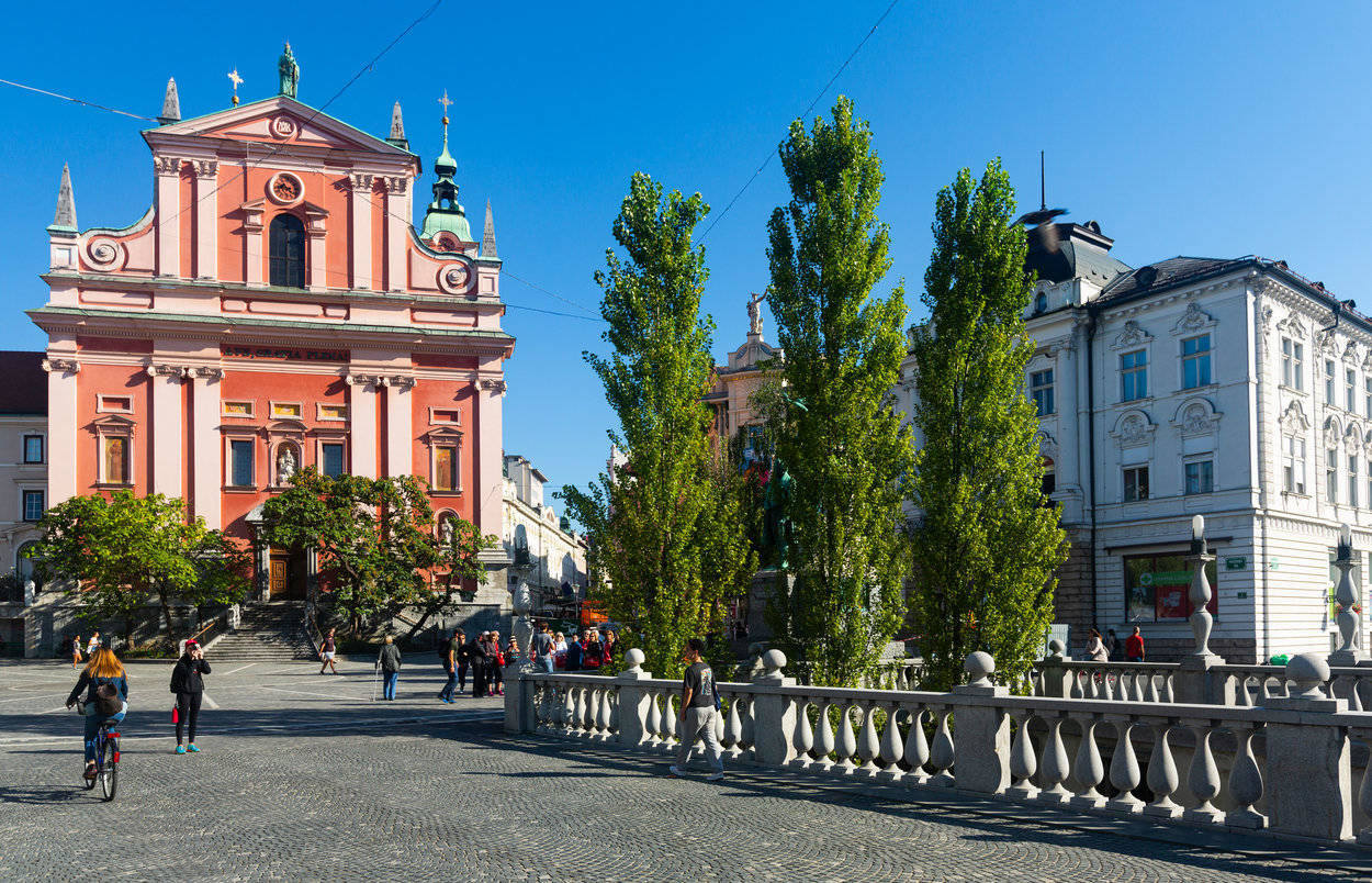 Prešeren square with pink church, the main square of Ljubljana