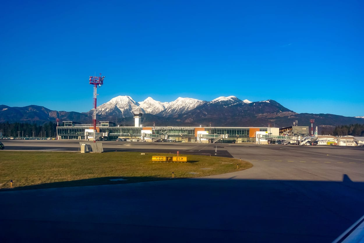 Ljubljana airport surrounded by mountains