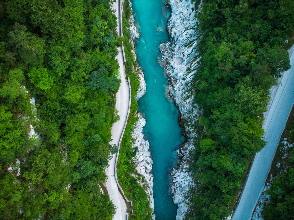 Soca river from the bird perspective