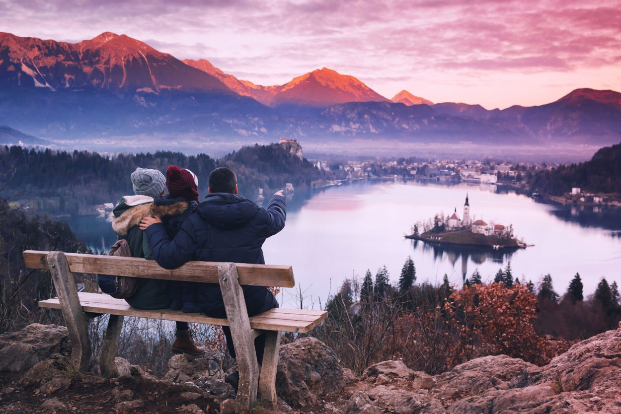 Watching sunset above Lake Bled