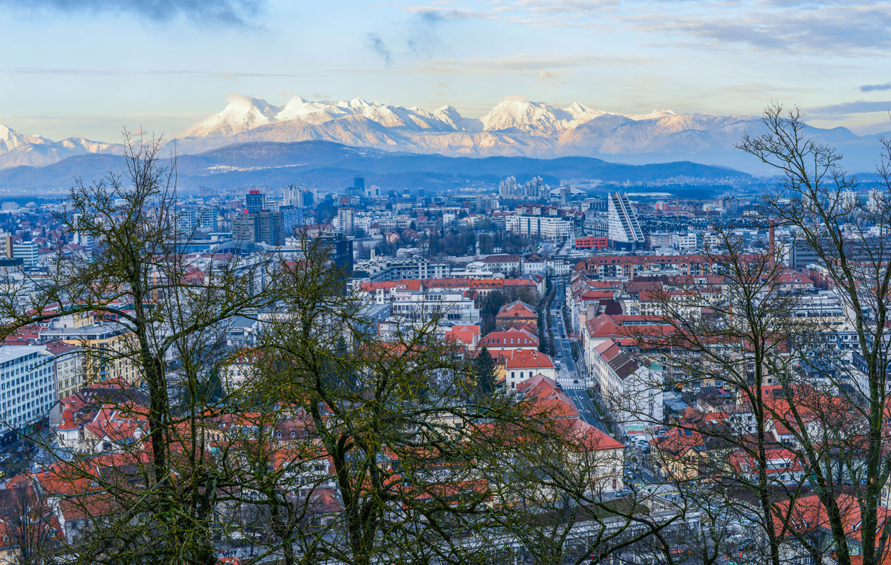 Ljubljana in the morning viewed from the Ljubljana castle