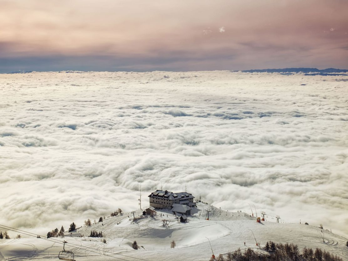 Ski resort above clouds