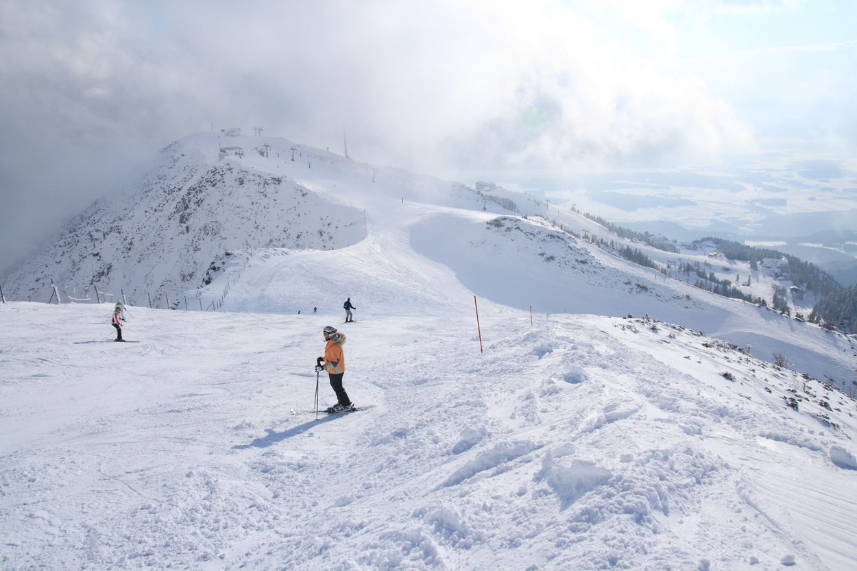 Skiing down not so steep slope
