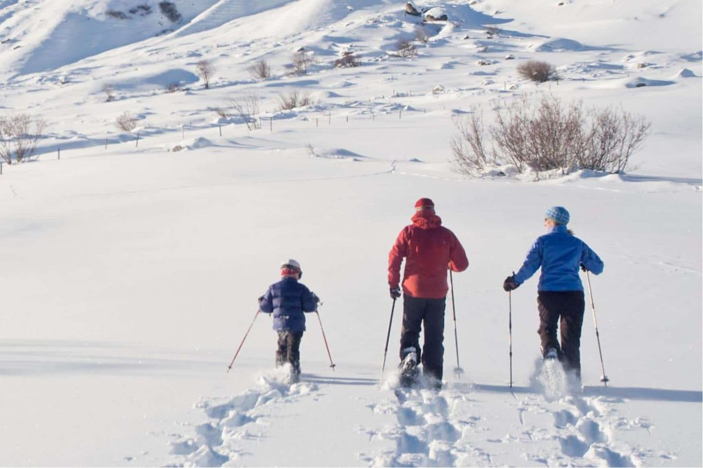 Family on a snowshoeing adventure