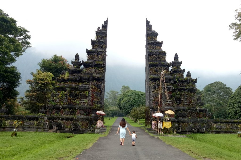 Visiting a temple in Bali