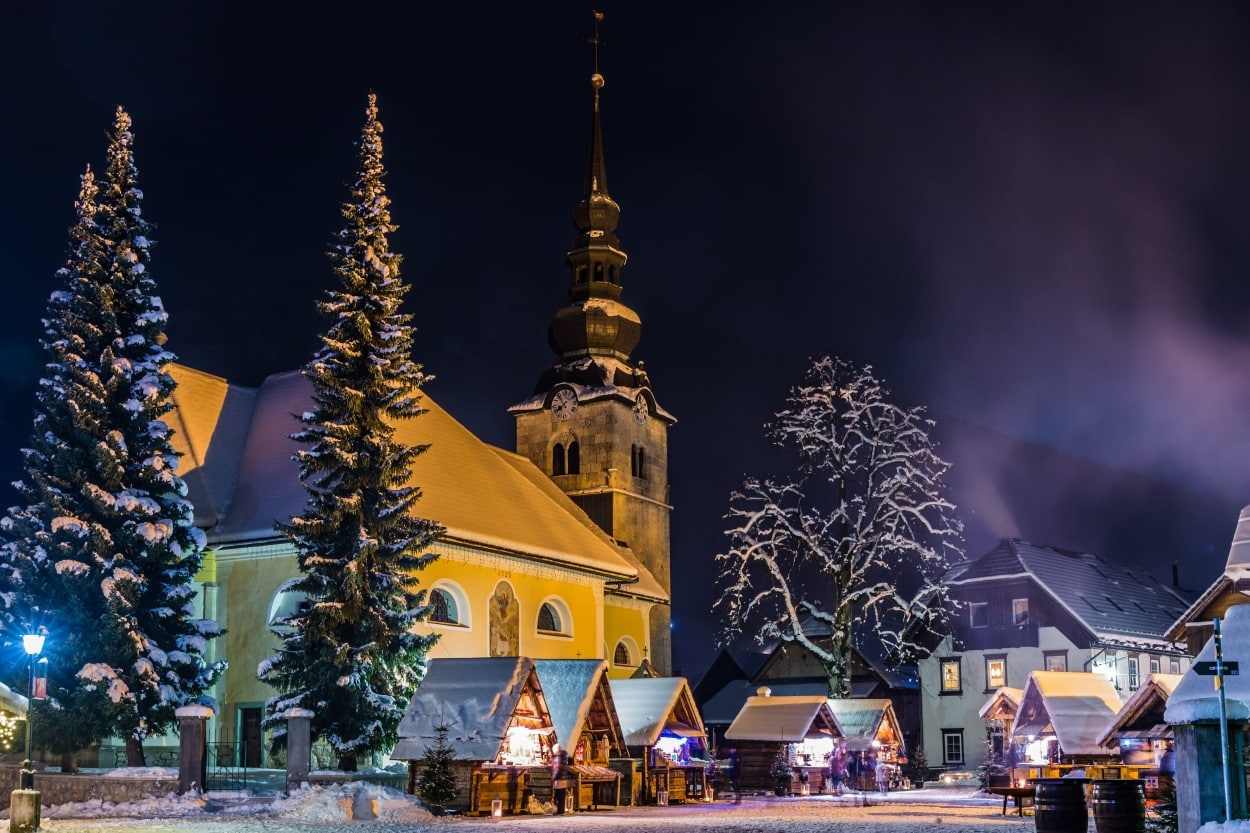 Kranjska Gora main square in magical winter