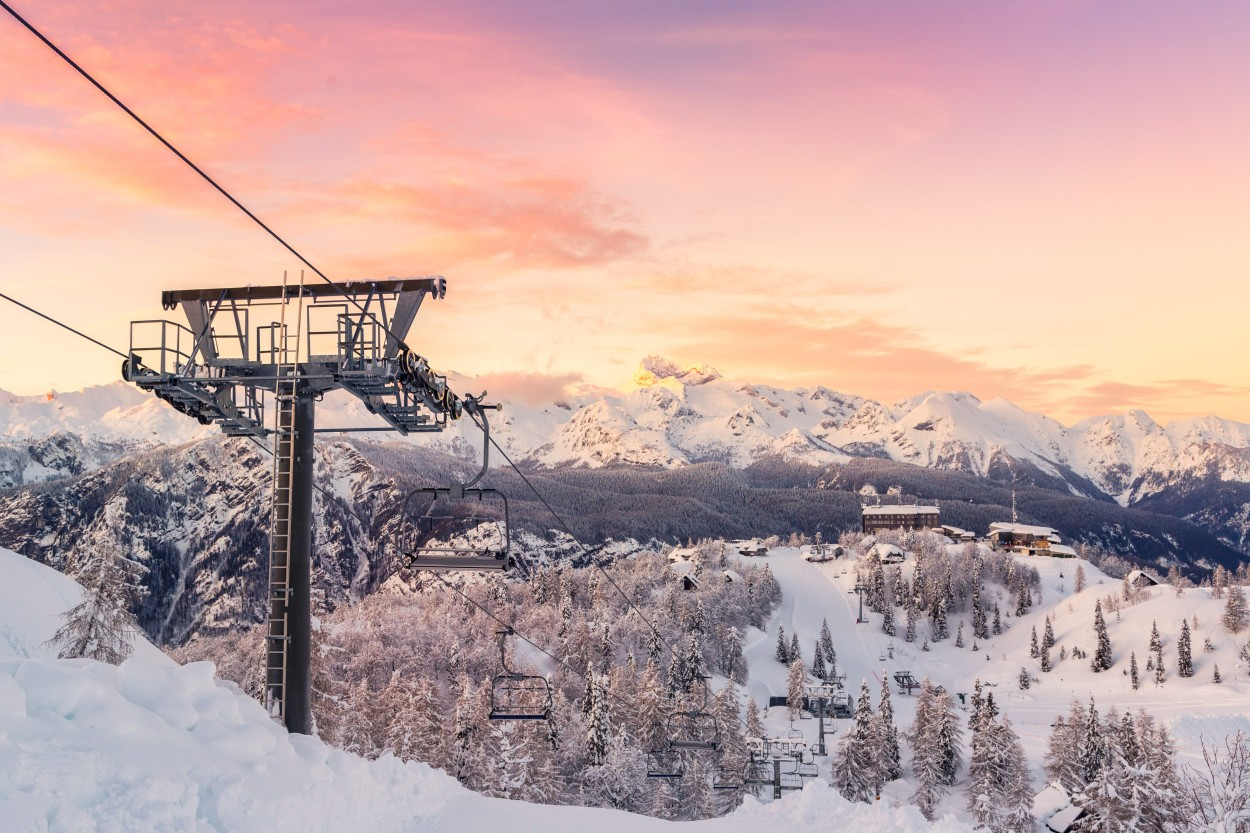 Ski lift and beautiful sunset sky