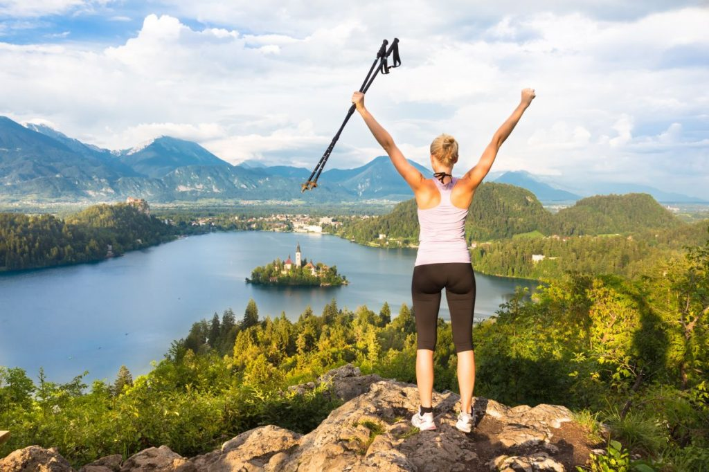 Sporty lady at Bled Lake view point