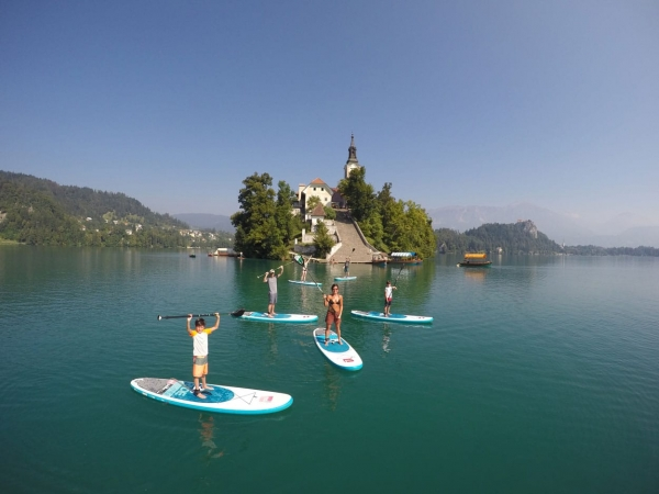 Standup paddle-boarding on Lake Bled