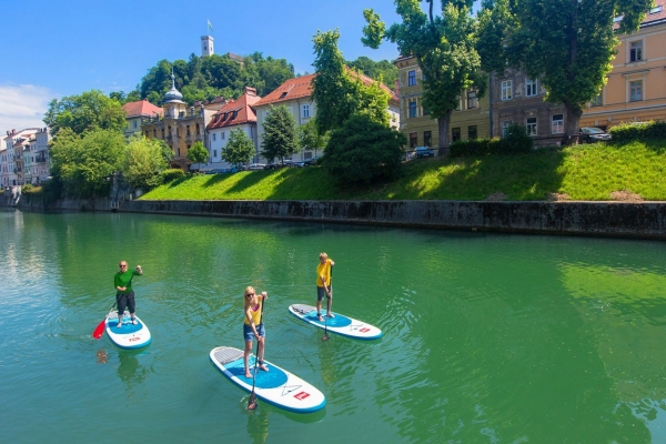 Stand up paddling in Ljubljana on Ljubljanica River