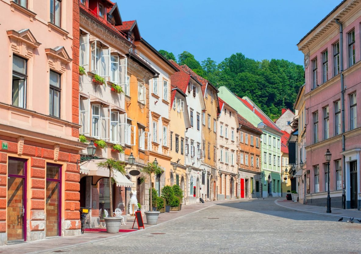 Old town street in Ljubljana