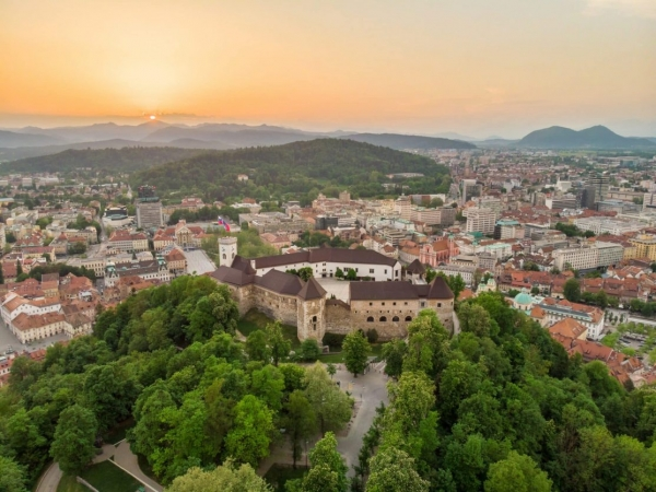 Ljubljana Castle and sunset