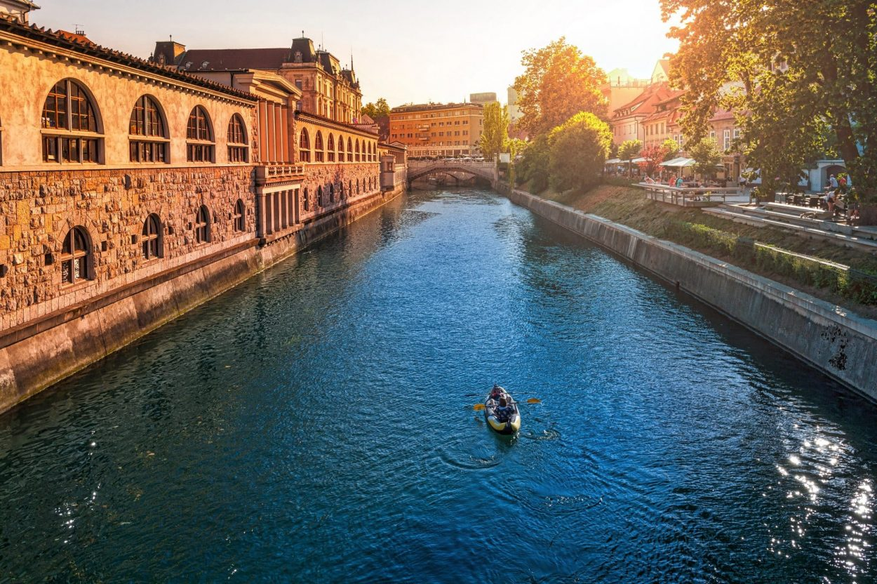 Ljubljanica river by the central market