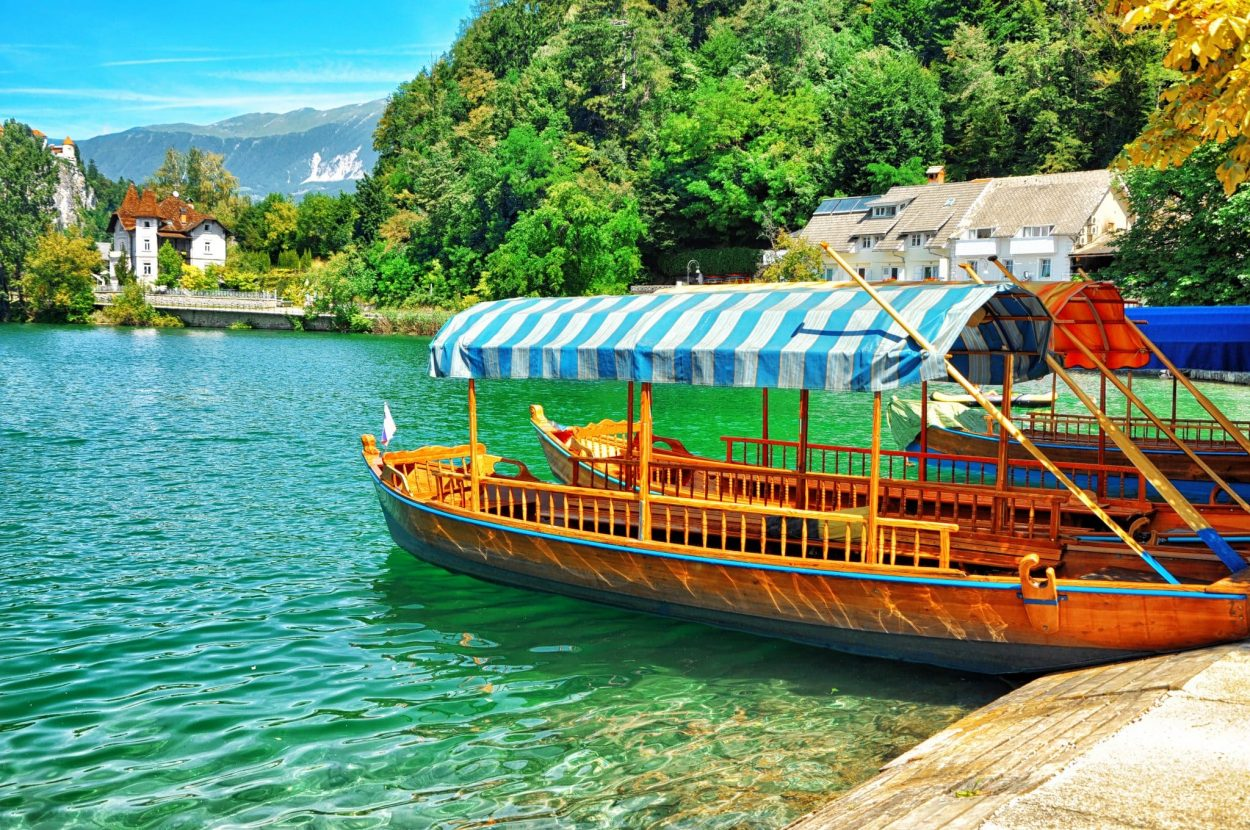 Traditional row boats on Lake Bled, pletna