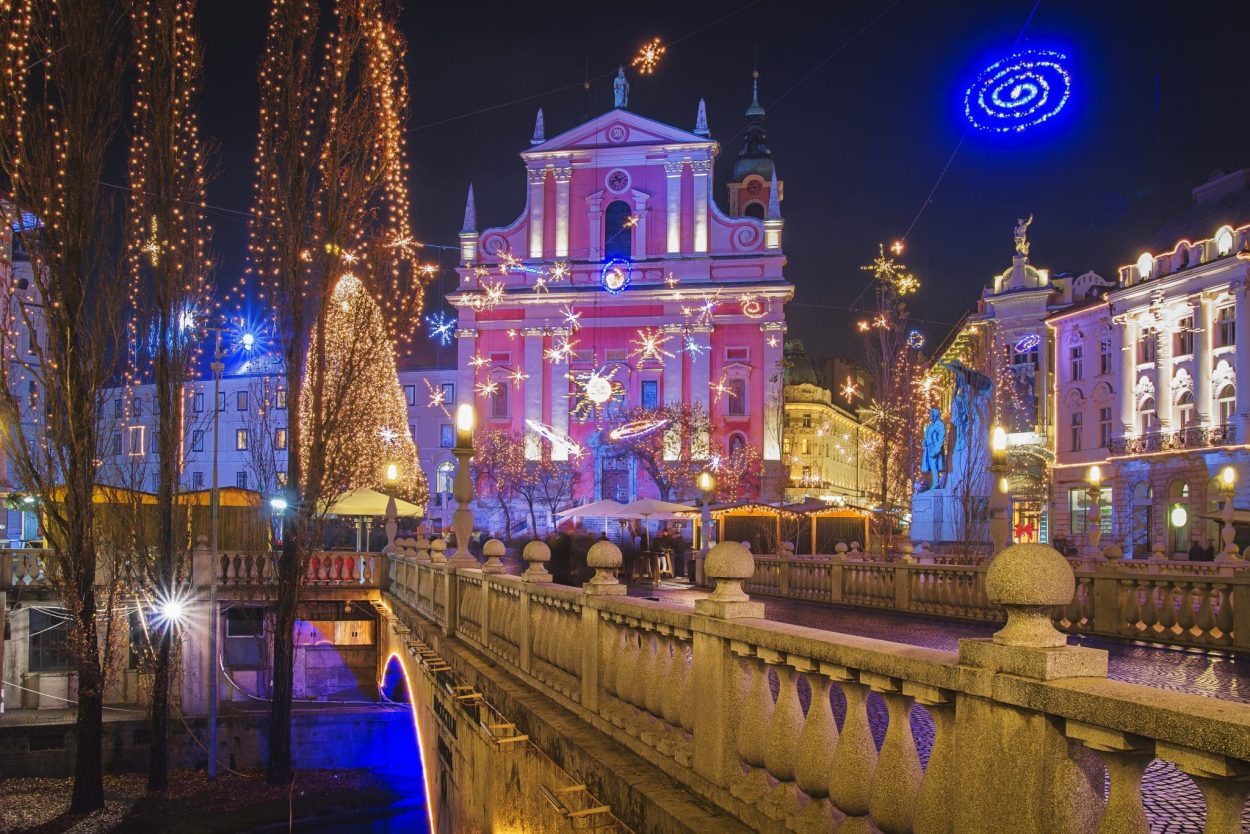 Main Square of Ljubljana in winter during Christmas holidays