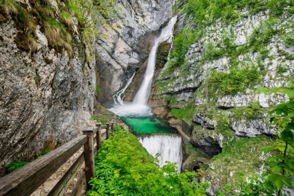 Savica waterfall in summer