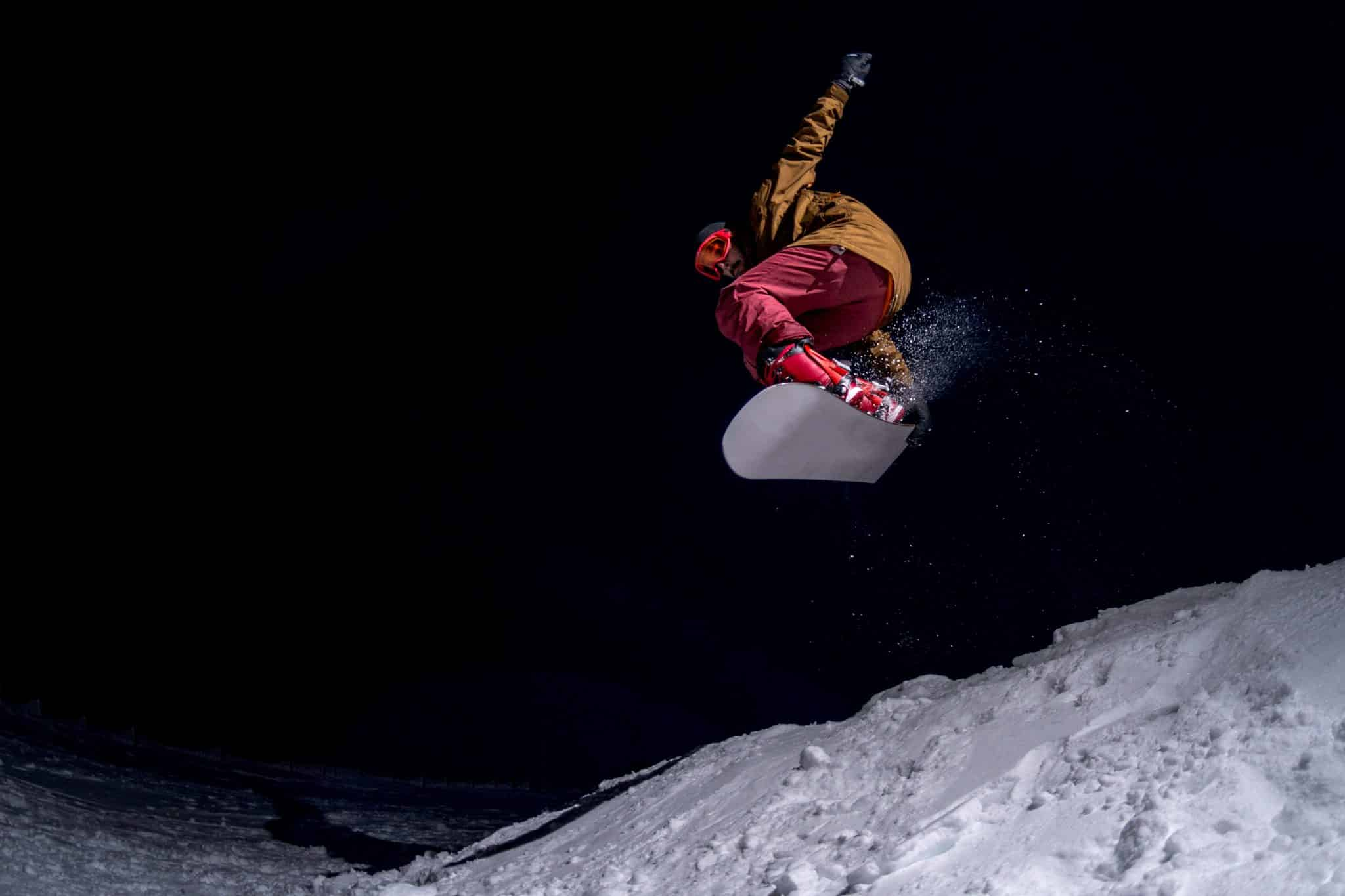 Snowboarding at night