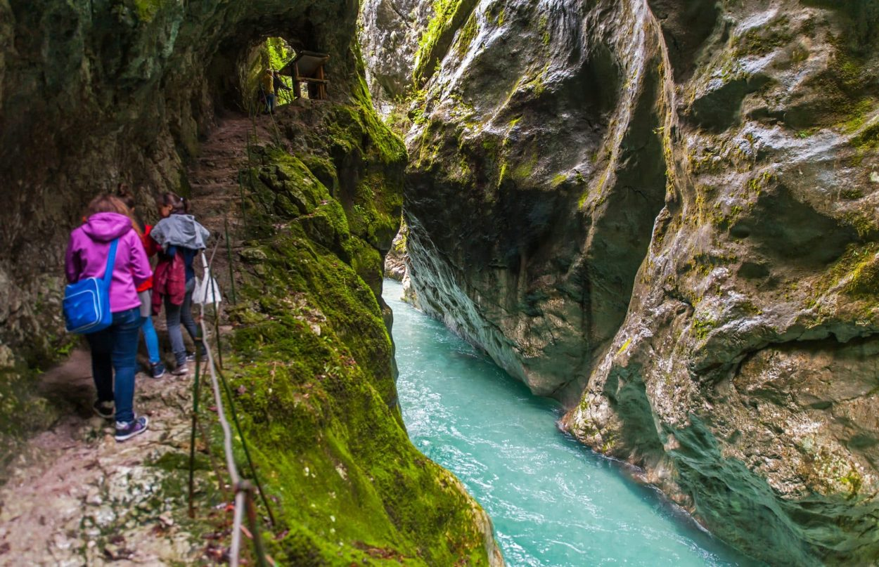Visitors in Tolmin gorge
