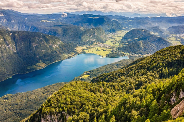 View of Lake Bohinj from Mount Vogel