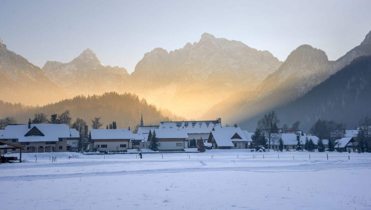 kranjska gora winter sunrise