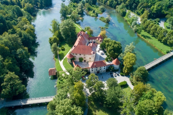 Otocec Castle, built on a small island in the middle of Krka River