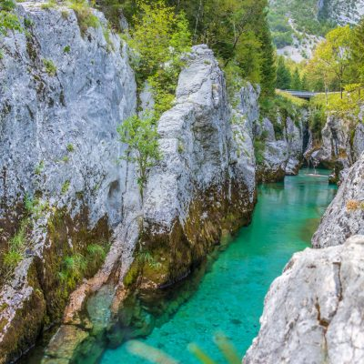 Emerald river Soča in Slovenia