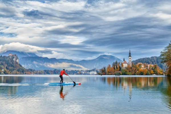 SUP Stand-up paddle-boarding on Lake Bled