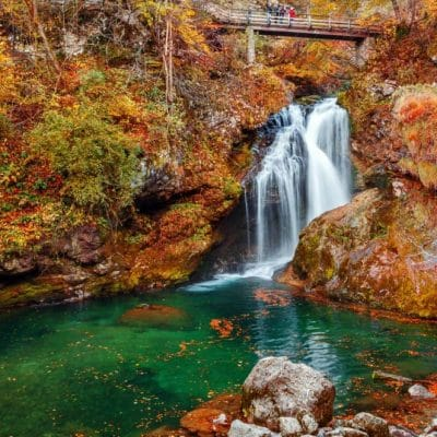 Vintgar gorge waterfall in Autumn