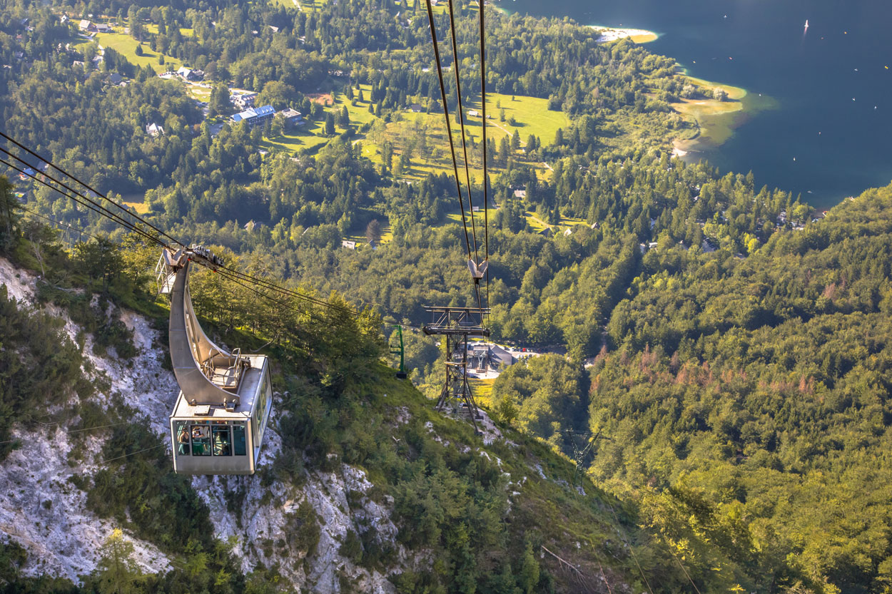 Vogel cable car above lake Bohinj