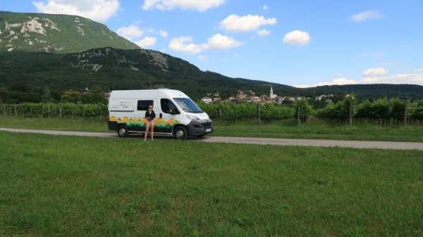 Campervan stopping for photos on a road through Vipava Valley