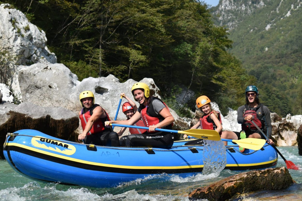 White water rafting on Soča River is great for families