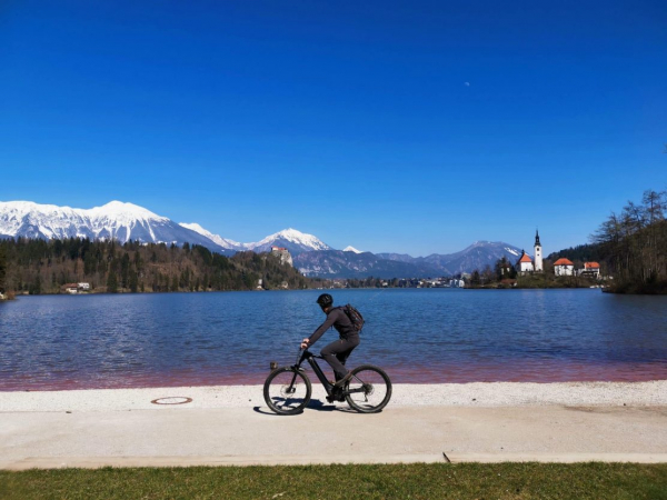 Cycling by Lake Bled