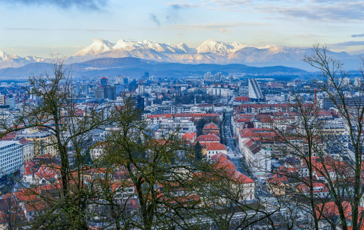 Ljubljana with the Alps in the background