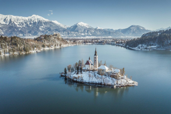 bled lake island in winter
