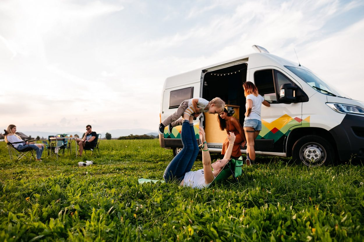 Family with campervan