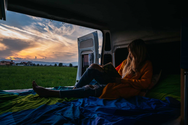 Enjoying a sunset from inside the campervan