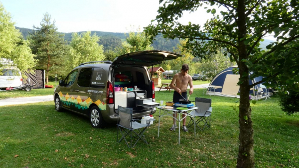 Campervan site on camping grounds