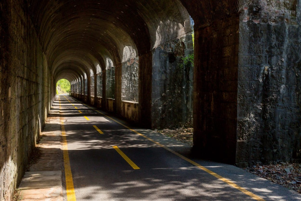 Cycling road through tunnel