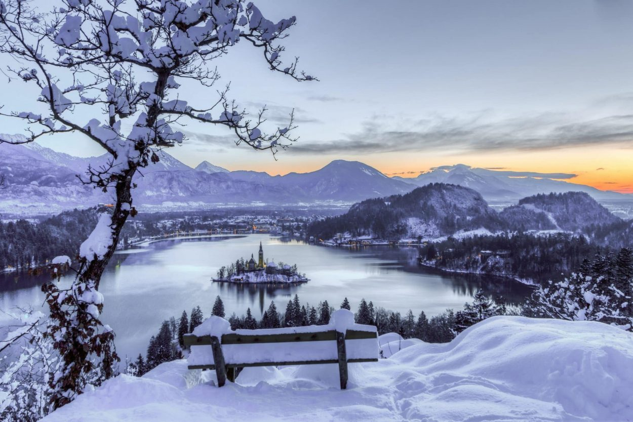 sunrise view of bled from ojstrica