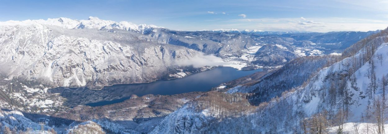 view from vogel to bohinj lake in winter
