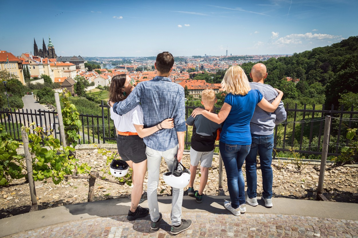Family watching Prague