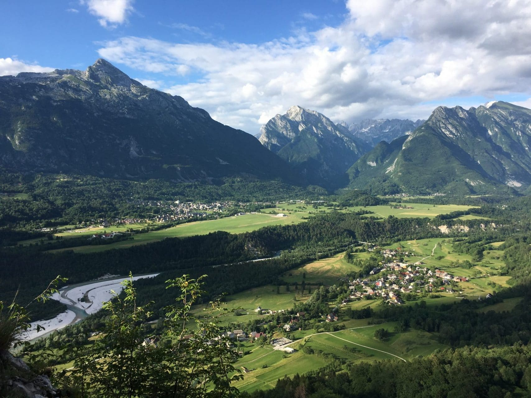 Bovec panorama with Soča River