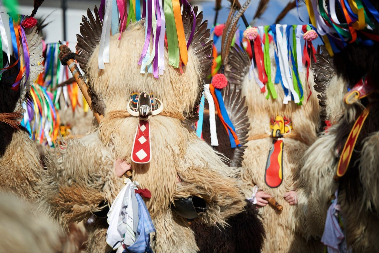 Famous Slovenian traditional carnival masks kurent
